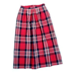 Vintage Pendleton Cotton Plaid Pleated Midi Skirt